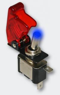 Kill-Switch Kippschalter Notausschalter blaue LED & Rote-Kappe 12V20A