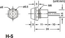 Chrom-Gehäuse mit Innenreflektor -H5/3mm für 3mm LED