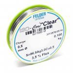 """Felder Lötdraht Iso-Core """" Clear"""" SAC305 Sn96.5Ag3Cu0.5 0.5mm 0.1kg"""