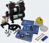 Profi Airbrush Kompressor Set mit 3 Airbrushpistolen AS196