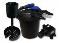 Druckfilter Set 6000l 11W UVC Klärer 65W Pumpe Standskimmer