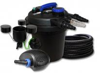 DruckteichfilterSet 6000l 11W UVC, 40W Pumpe Schlauch Skimmer CSP-250