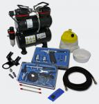 Profi Airbrush Kompressor Set mit 2 Airbrushpistolen AS196