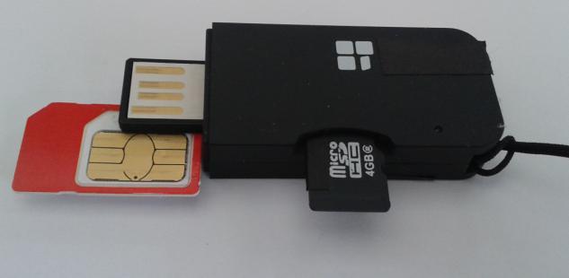 USB- SIM- Karten leser mit 1GB Flash und microSD- Reader