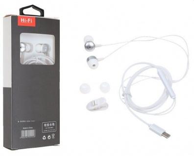 Typ C Stereo In Ear Kopfhörer Ohrhörer USB - Mikrofon weiss