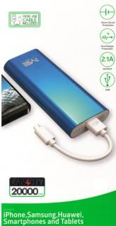 Power bank Li-ion Akku 20.000 mAh (20 Amper) mit USB Lade kabel