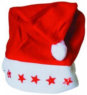 Nikolaus Weihnachts mütze mit blinkenden Sternen