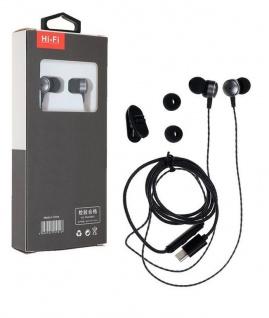 Typ C Stereo In Ear Kopfhörer Ohrhörer USB - Mikrofon schwarz