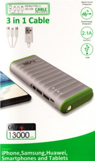 Power bank Li-ion Akku 13000 mAh mit USB Lade kabel