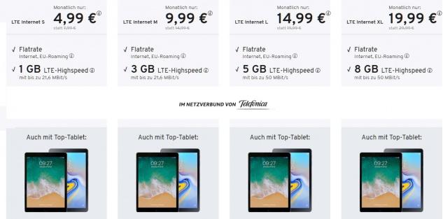 TABLET- Flat für ab 4, 99 Eur/ Monat optional mit Tablet Angebot