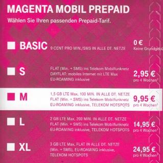 T-Mobile XTRA Prepaid Starter- Set mit 10,-€ Guthaben
