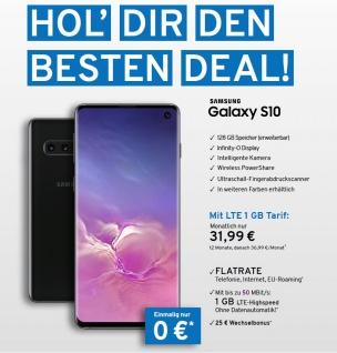 Galaxy S10 G973 mit 128GB + Flatrate mit 3GB LTE Highspeed Vertrag