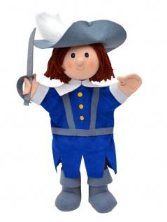 Handpuppe Musketier, blau, 34cm, Handpuppe mit Beinen