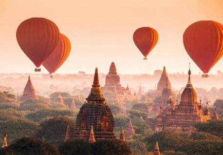 Vlies Fototapete Heißluftballone über Bagan