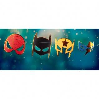 Girlande Superhelden Masken - Dekoration Kindergeburtstag