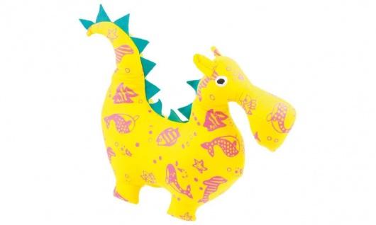 Stofftier Kuschelfreund Drache, groß, gelb