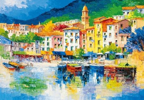 Fototapete Kunst Gemälde mit malerischem Hafen im Dorf am Meer