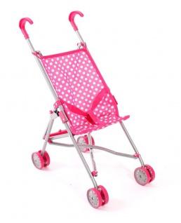 Mini-Buggy für Puppen Farbe pink mit Punkten