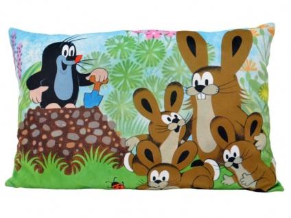 Kissen der kleine Maulwurf, Motiv Hasen, 45x30cm - Kinderkissen