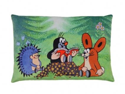 Kissen der kleine Maulwurf, Motiv Vorleser, 32x21cm - Kinderkissen