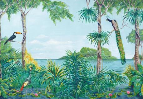 Vlies Fototapete Dschungel, mit tropischen Vögel
