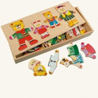 Ankleidepuzzle von Bino, Bärenfamilie in Holzbox