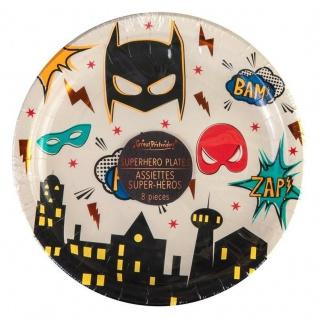Superhelden Teller, 15 cm - Partygeschirr, Tischdeko, Kindergeburtstag
