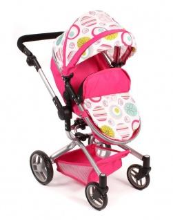 Kombi-Puppenwagen Yolo weiß-pink