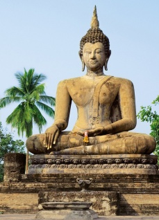 Fototapete Buddha aus Stein, in altem Tempel, 4teilig