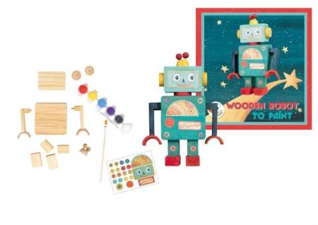 Roboter Set zum Anmalen, aus Holz