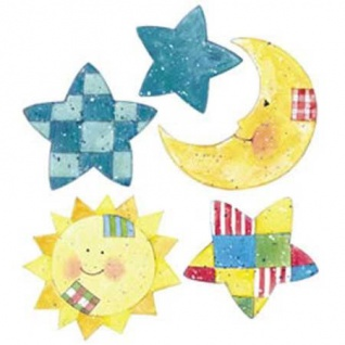 Wandaufkleber Wallies Motiv-Sticker (Cutouts) Sun, Moon&Stars