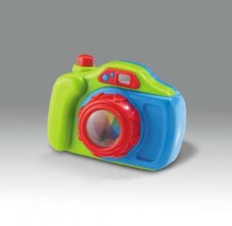 Kamera mit Rassel, mit Auslöser und drehbarer Linse