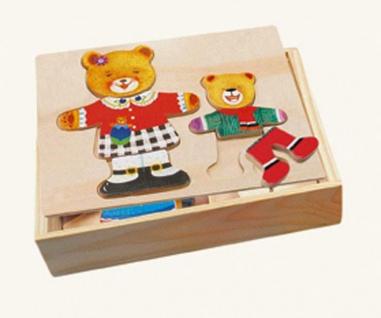 Ankleidepuzzle von Bino, Bärenmutter und Kind in Holzbox
