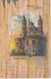 Ansichtskarte Gruss aus Köln Aposteln Kirche, ein altes Original, PLZ 50667