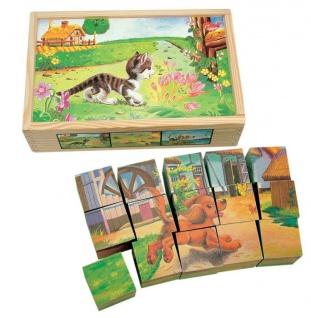 Bilderwürfel Holz Haustiere, 15-teilig