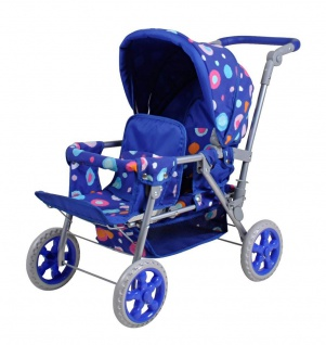 Zwillingswagen Big Twin für Puppen, blue splash