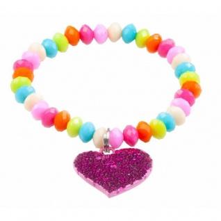 Buntes Armband mit Herzanhänger, für Kinder