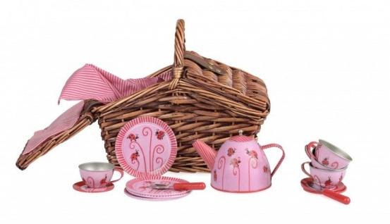 Tee-Set für Kinder im Korb, Design Marienkäfer