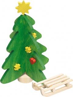 Weihnachtsbaum und Schlitten fürs Puppenhaus