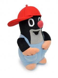 Plüschfigur der kleine Maulwurf, mit Hose und Kappe rot, 26cm