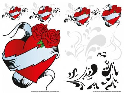 Wandtattoo Herz und Rose, selbstklebend