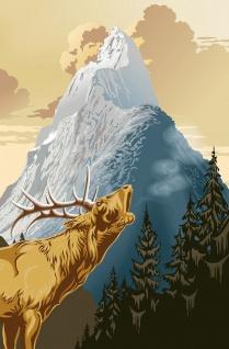 XXL Poster Kunst Gemälde, Berge, Hirsch und Tannen