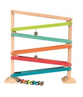Kugelbahn mit kleinen Zug - Holzspielzeug