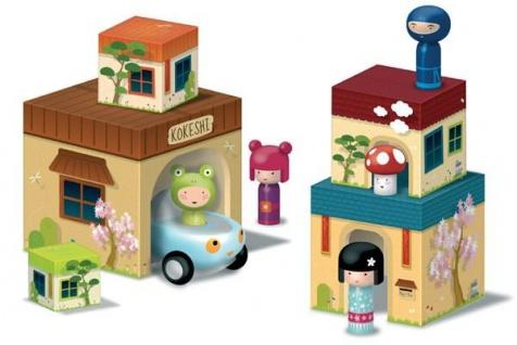 Kokeshi Häuser, Würfeltürmchen