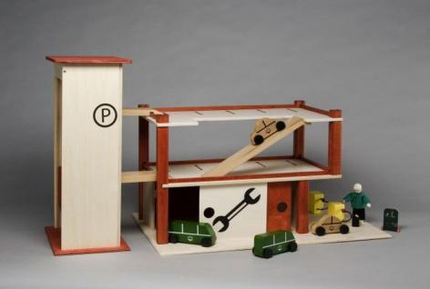 Parkhaus mit Garage, rot