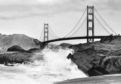 Vlies Fototapete Golden Gate Bridge San Francisco, Schwarz-weiß