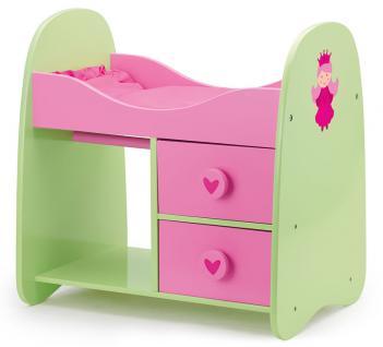 Schrankbett für Puppen, pink/grün