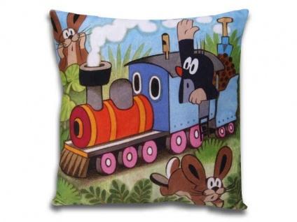 Kissen der kleine Maulwurf, Motiv Lokführer, 30 x 30 cm - Kinderkissen