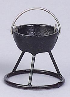 Kessel mit Ständer schwarz, für Krippen, Hobby- und Modellbau