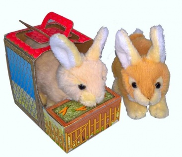 Plüschtier Hase im Stall, 14 cm lang, 1 Stück, sortierte Ware